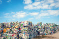 Dump with processed garbage blue sky as backgrond ecology Royalty Free Stock Images
