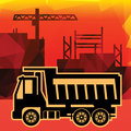 Dump truck on industry background Royalty Free Stock Photos