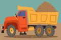 Dump truck loaded with pile of dirt Stock Photography