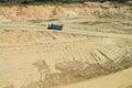 The dump truck moves on a sandpit bottom polewoje kaliningrad region russia — june Royalty Free Stock Photography