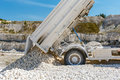 Dump truck unloading process Royalty Free Stock Photo