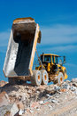 Dump truck at work Royalty Free Stock Image