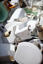 Dumped ceramic toilets broken wc recycling Stock Photo
