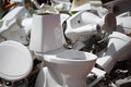 Dumped ceramic toilets broken wc recycling Stock Photography