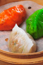 Dumpling dim sum three style Stock Photos