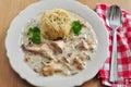Dumplings with chanterelle mushroom sauce german bread Stock Images