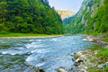 The dunajec river gorge natural reserve national border between poland and slovakia pieniny mountains range nature Stock Photos