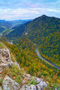 The dunajec river gorge view from the sokolica mountain m poland to lesnica slovakia pieniny mountains range in polnad Stock Image