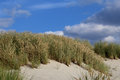 Dune at the baltic sea deserted on beach with blue sky and clouds Royalty Free Stock Photo