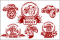 Dune buggy and monster truck - vector badge Royalty Free Stock Photo