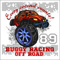 Dune buggy riders - off road badge Royalty Free Stock Photo
