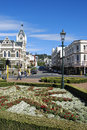 Dunedin city street view of with flowers in summer Stock Photos