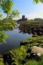 Dunguaire castle taken from the trees near kinvarra shot with view of lake Royalty Free Stock Image