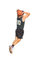Dunking on white background basketball player isolated Stock Image