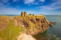 Dunnottar castle aberdeenshire scotland is a spectacular ruined medieval cliff top fortress dating to the fourteenth century and Stock Images