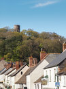 Dunster village conygar tower somerset the medieval of is in within the exmoor national park england stands at the top of the hill Stock Images