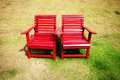 Duo Red Chairs Stock Image