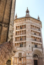 Duomo and baptistery of parma emilia romagna italy medieval monuments with a lion statue Stock Photo