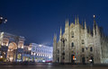 Duomo di milano and galleria vittorio emanuele night view of Royalty Free Stock Images