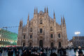 The duomo di milano is one of the world s largest cathedrals milan italy december square crowded with people at dusk on december Royalty Free Stock Images