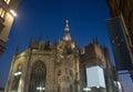 Duomo di milano rear view night of Royalty Free Stock Image