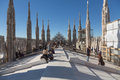 Duomo di milano tourists on the rooftop of cathedral italy Royalty Free Stock Photo