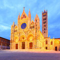 Duomo di siena night view of the cathedral of italy Royalty Free Stock Images