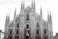 Duomo of Milan black and white Royalty Free Stock Photo