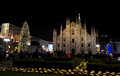 Duomo square of Milan during New Year 2014 concert at midnight. Royalty Free Stock Photo