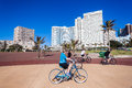 Durban beachfront cycling public promenade past hotels with local fitness early morning Royalty Free Stock Photography