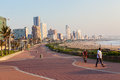 Durban beachfront promenade ocean morning from south beach looking north to the distant football soccer stadium great weather all Royalty Free Stock Photo