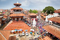 Durbar square in bhaktapur in kathmandu valley nepal crowd of local nepalese people visit the famous is the third largest city Stock Photography