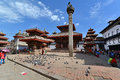 The durbar square in kathmandu nepal oct nepalese people visit famous of on october is Royalty Free Stock Images