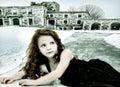 Durchgehen-verlorenes Mädchen-Kind-Begriffsbild Stockfoto