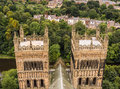 Durham cathedral towers view over the western of and the river wear england uk Royalty Free Stock Photo
