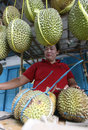 Durian merchants selling fruit by the roadside in the city of solo central java indonesia Stock Photos