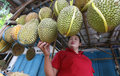 Durian merchants selling fruit by the roadside in the city of solo central java indonesia Royalty Free Stock Photography