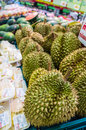 Durian in supermarket fresh sell Stock Photos