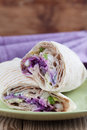 Durum kebab tortilla wraps with tzatziki and fresh salad Stock Image