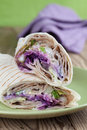 Durum kebab tortilla wraps with tzatziki and fresh salad Royalty Free Stock Photography