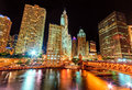 Dusable bridge and chicago river at night Stock Photo