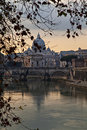 Dusk in rome image of saint peters basilica viewed from the river tiber at italy Royalty Free Stock Photography