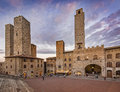 Dusk in san gimignano italy is a small walled medieval hill town the province of siena tuscany north central Stock Image