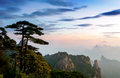 Dusk sunset and mountains world natural heritage china jiangxi Royalty Free Stock Image