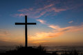 Dusk Sunset Salvation Cross Royalty Free Stock Photo