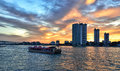 Dusk view of chao phraya river from the bank aisatique bangkok thailand Stock Images