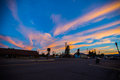 Dusk west yellowstone town colored cloud blue sky Stock Images