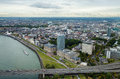 Dusseldorf from above view at skyline the city tv tower Stock Image