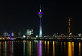 Dusseldorf, Rheinturm TV tower in night Stock Images
