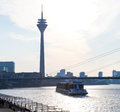 Dusseldorf view on the rhine river in nordrhein westfalen germany on february Stock Photos